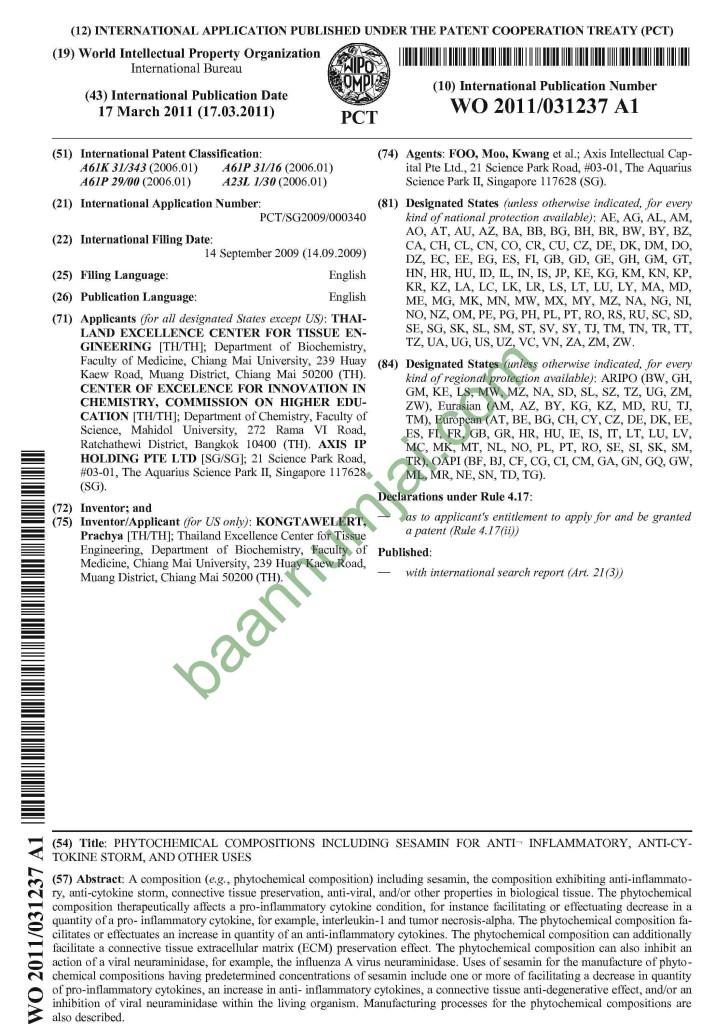 Sesamin_Patent 1