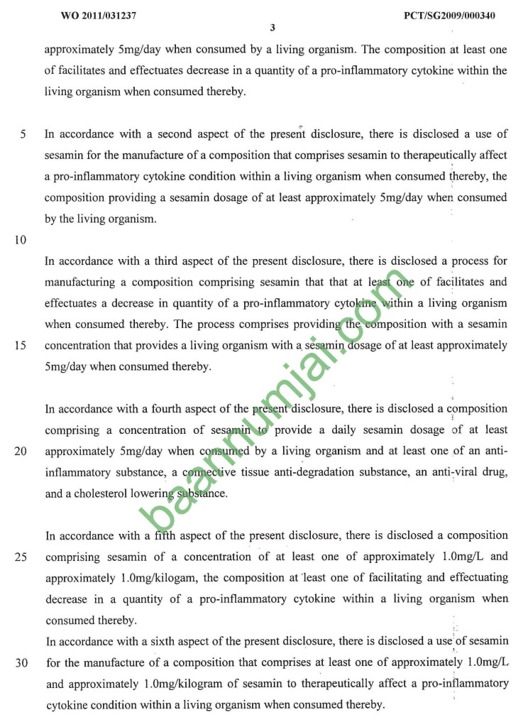 Sesamin_Patent 4